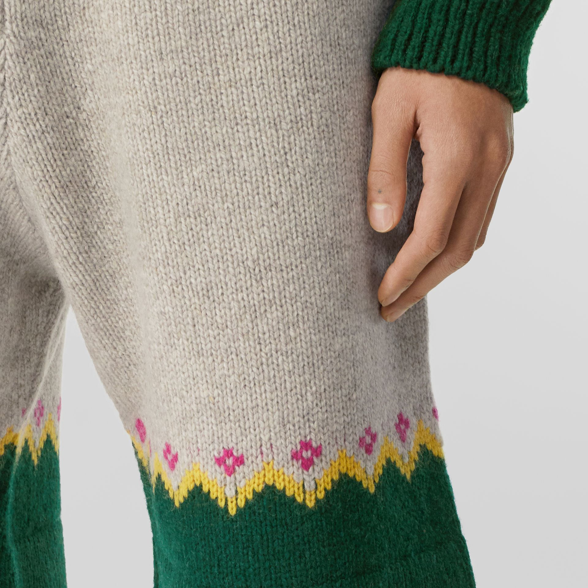Fair Isle Wool Drawcord Shorts in Sesame - Men | Burberry Hong Kong S.A.R - gallery image 1
