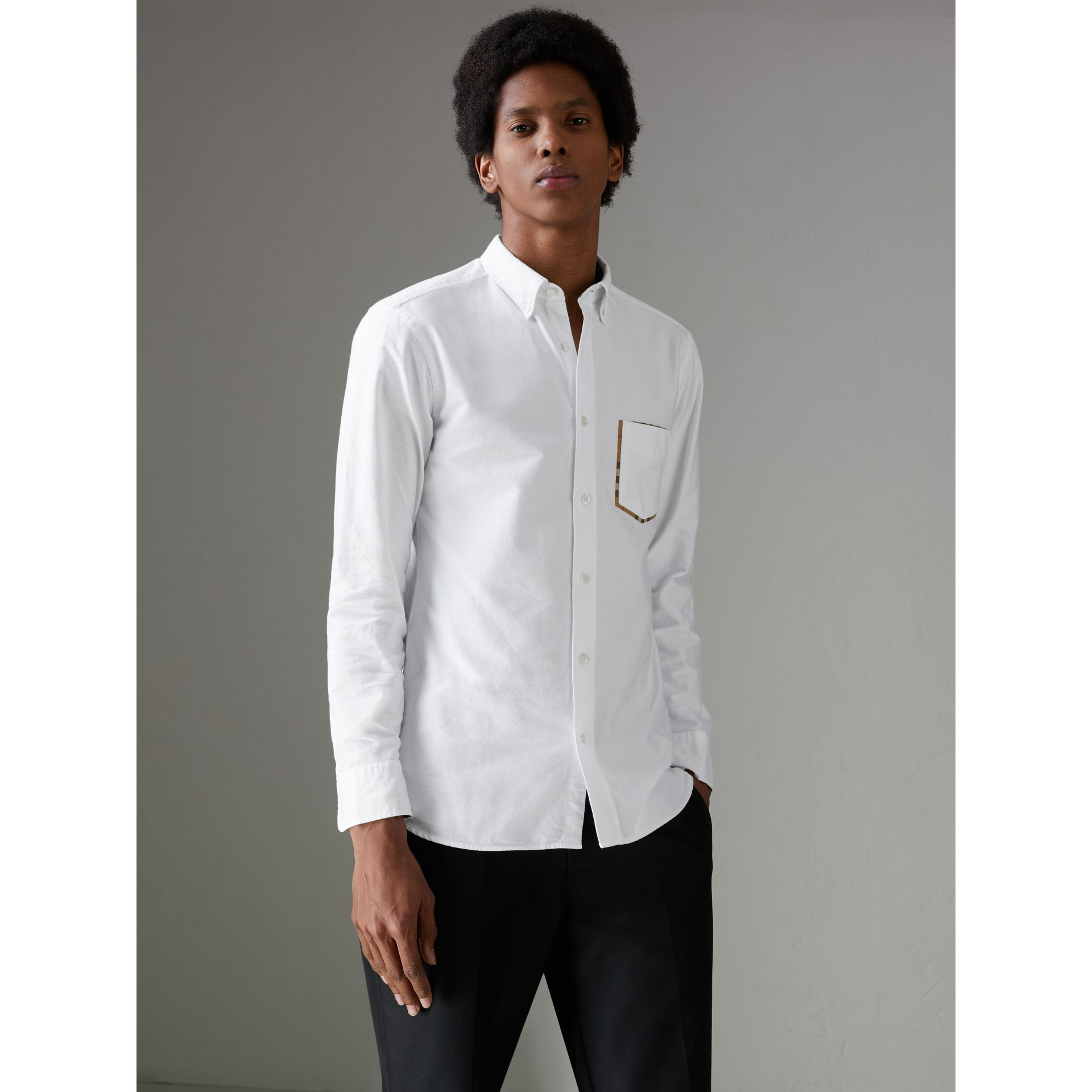 Check Detail Cotton Oxford Shirt in White - Men | Burberry - gallery image 5