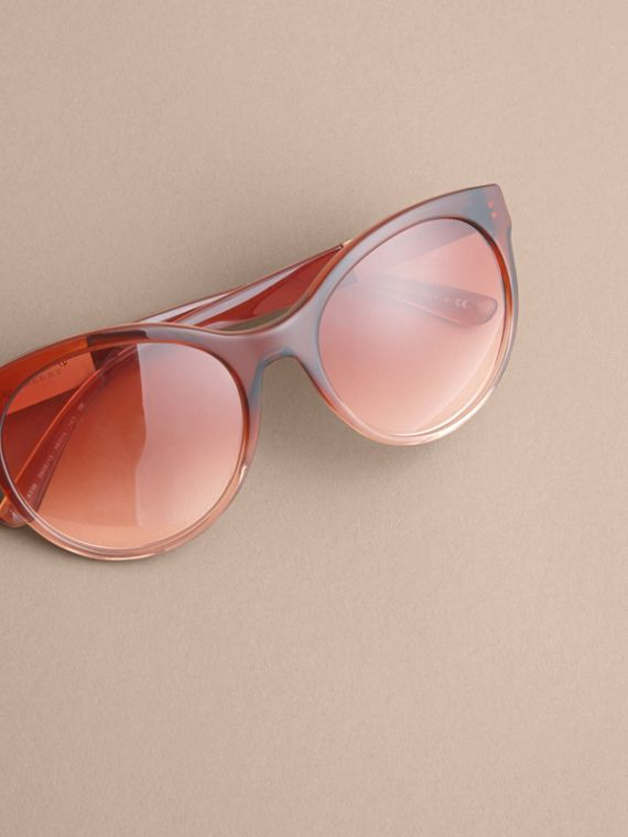 Check Detail Round Frame Sunglasses in Rose - Women | Burberry - cell image 2