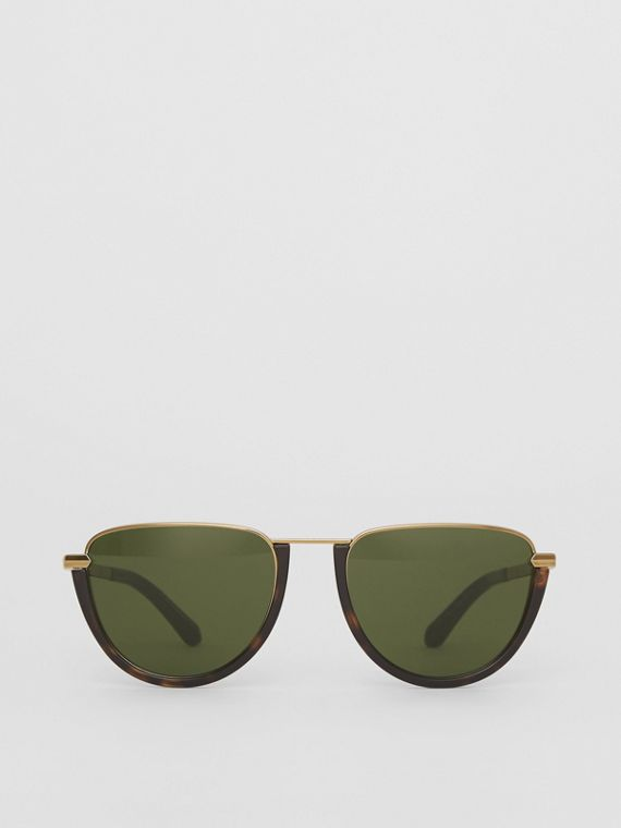 Half Moon Pilot Round Frame Sunglasses in Tortoise Shell