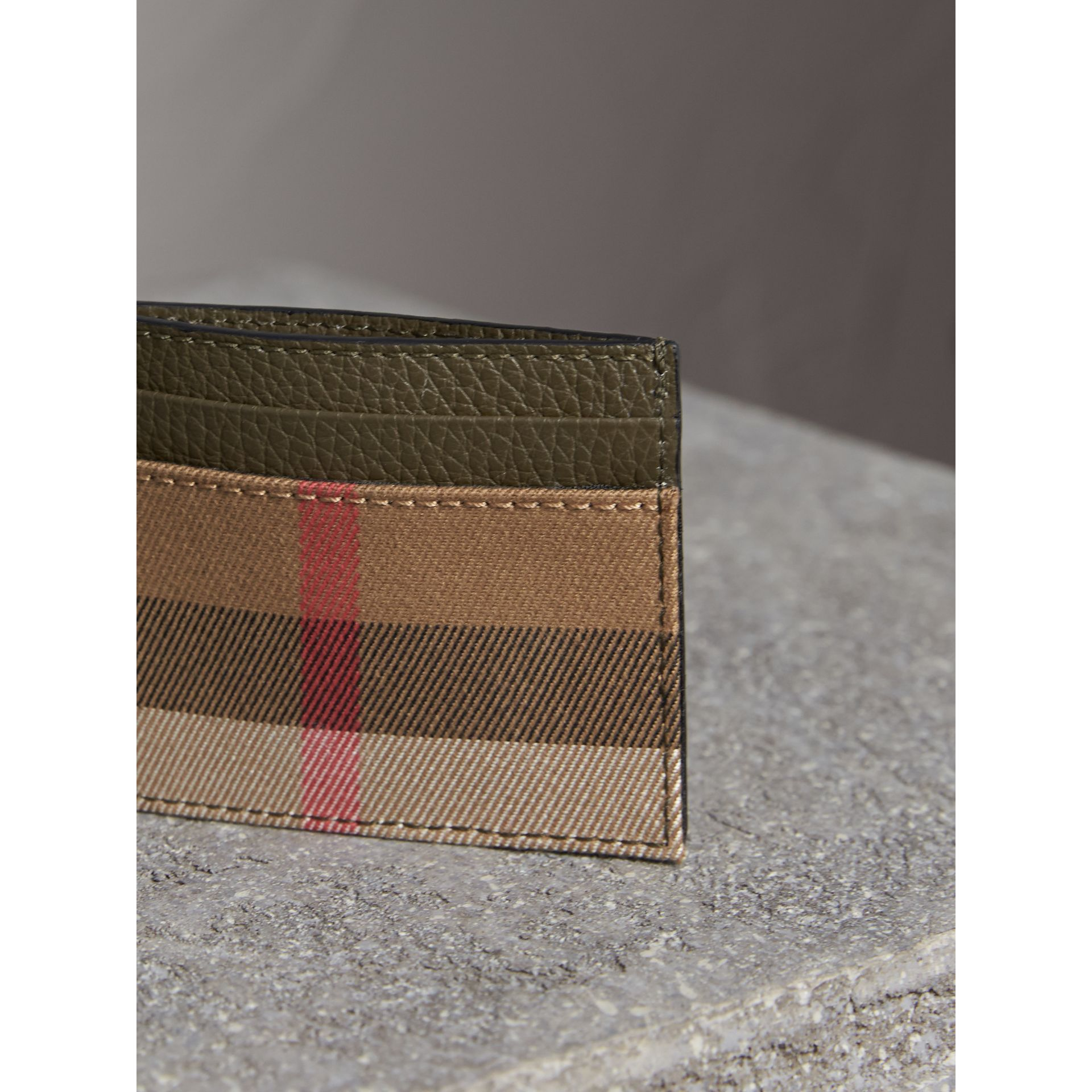 House Check and Grainy Leather Card Case in Sage - Men | Burberry - gallery image 5
