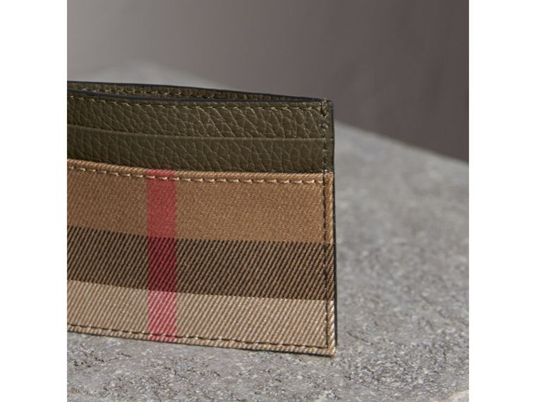 House Check and Grainy Leather Card Case in Sage - Men | Burberry - cell image 4