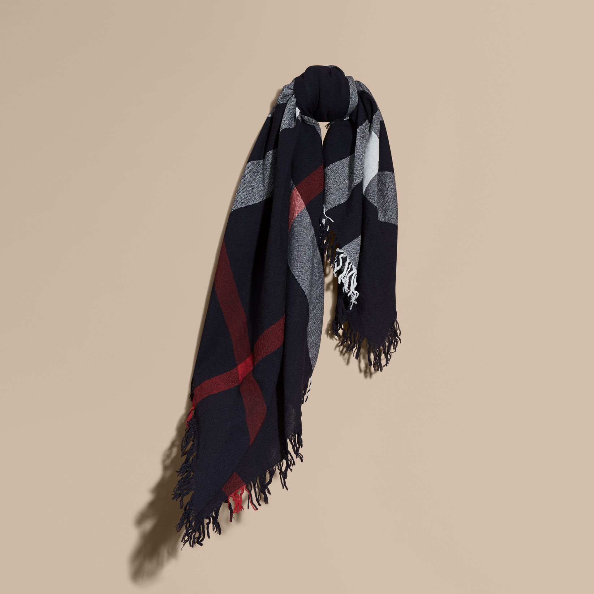 Check Wool Square - Large in Navy | Burberry - gallery image 1