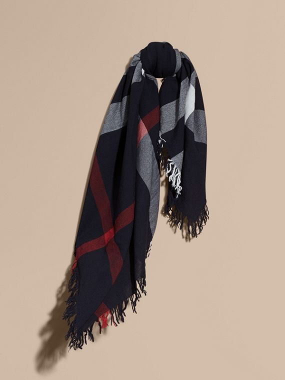 Check Wool Square - Large in Navy | Burberry