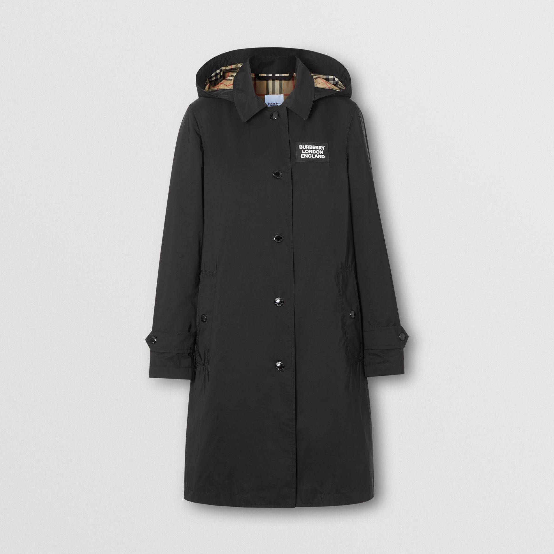 Detachable Hood Shape-memory Taffeta Car Coat in Black - Women | Burberry - gallery image 3