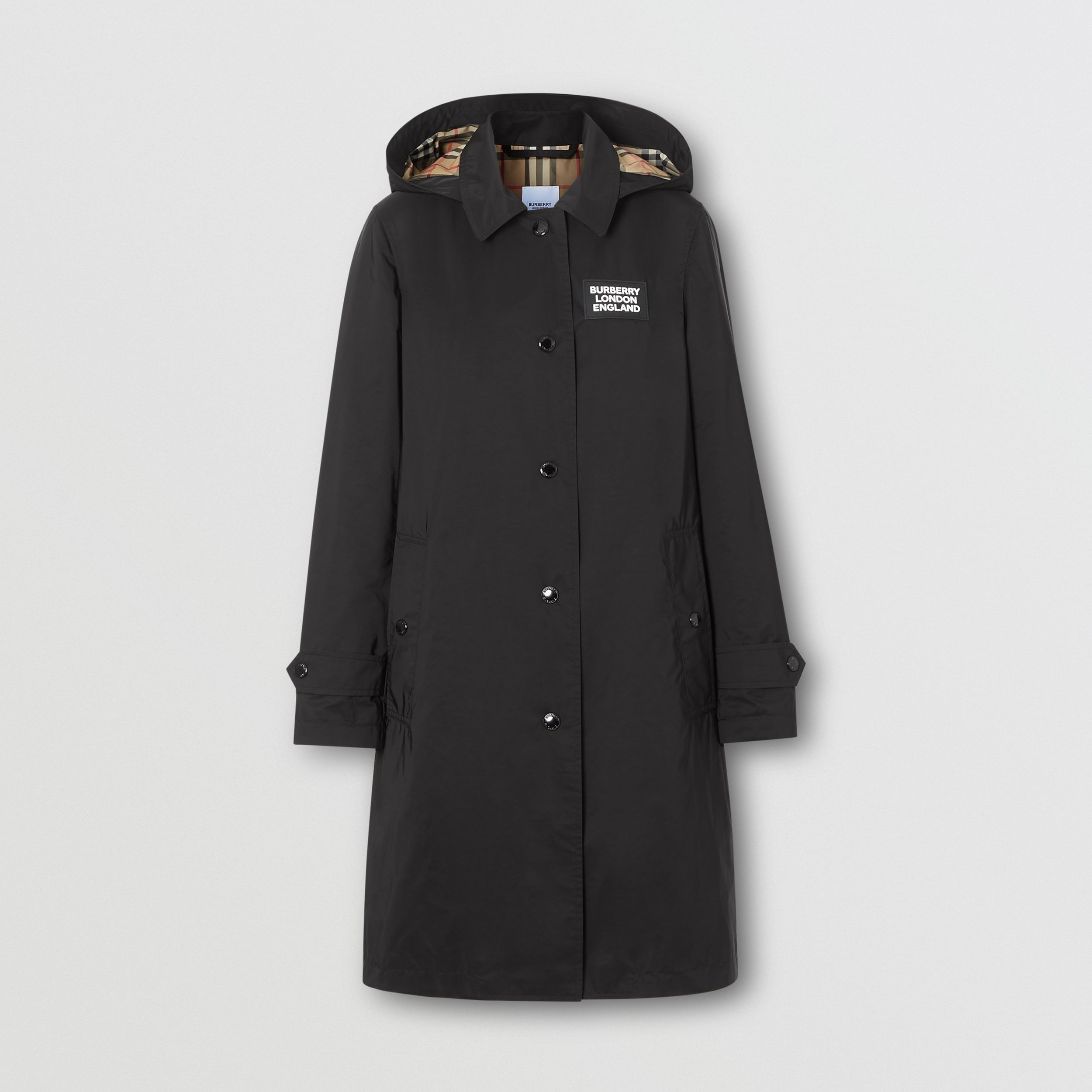 Car coat in taffetà a memoria di forma con cappuccio staccabile (Nero) - Donna | Burberry - 4