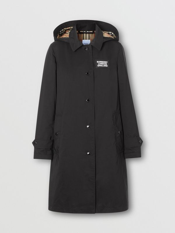 Detachable Hood Shape-memory Taffeta Car Coat in Black - Women | Burberry - cell image 3