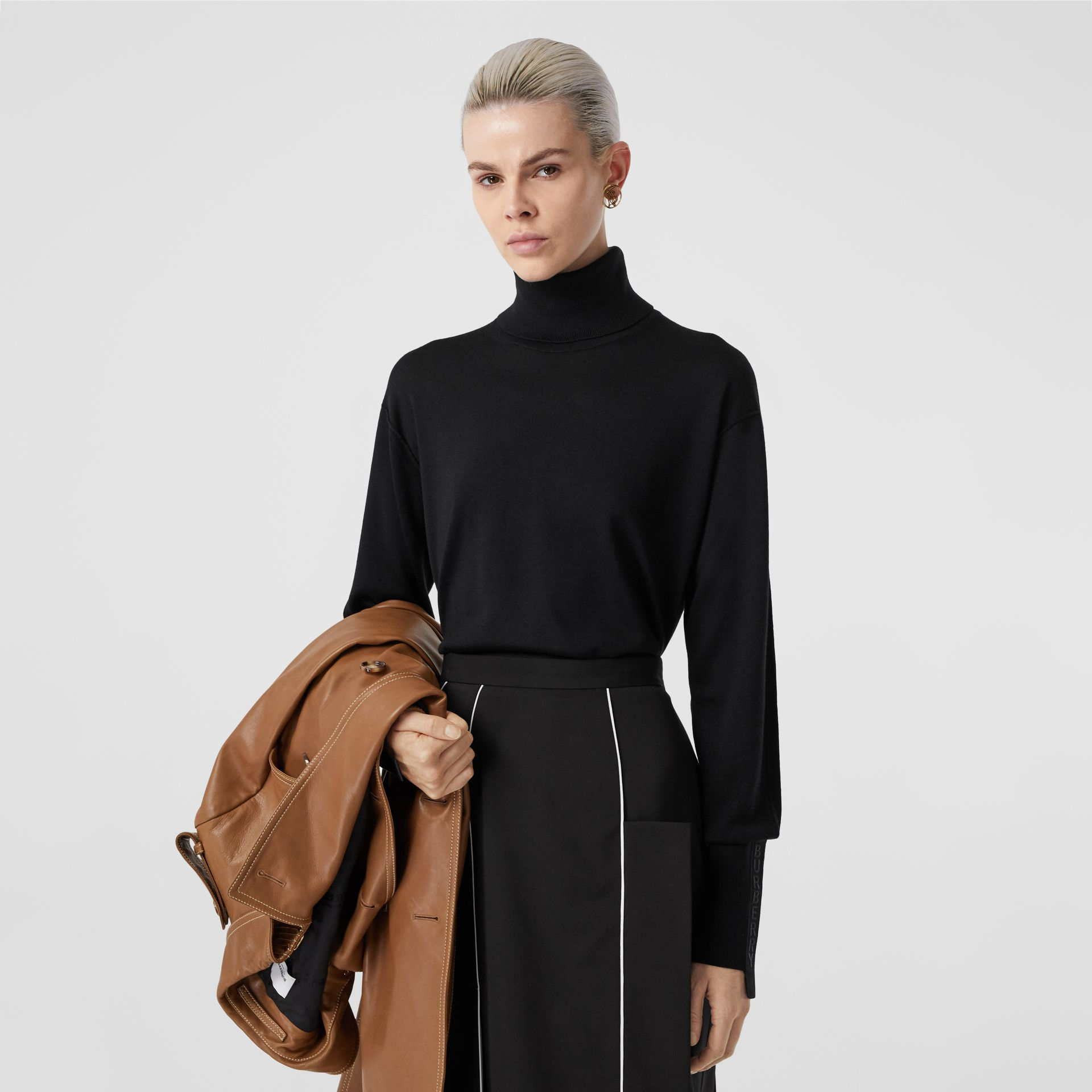 Logo Tape Merino Wool Silk Roll-neck Sweater in Black - Women | Burberry - gallery image 3