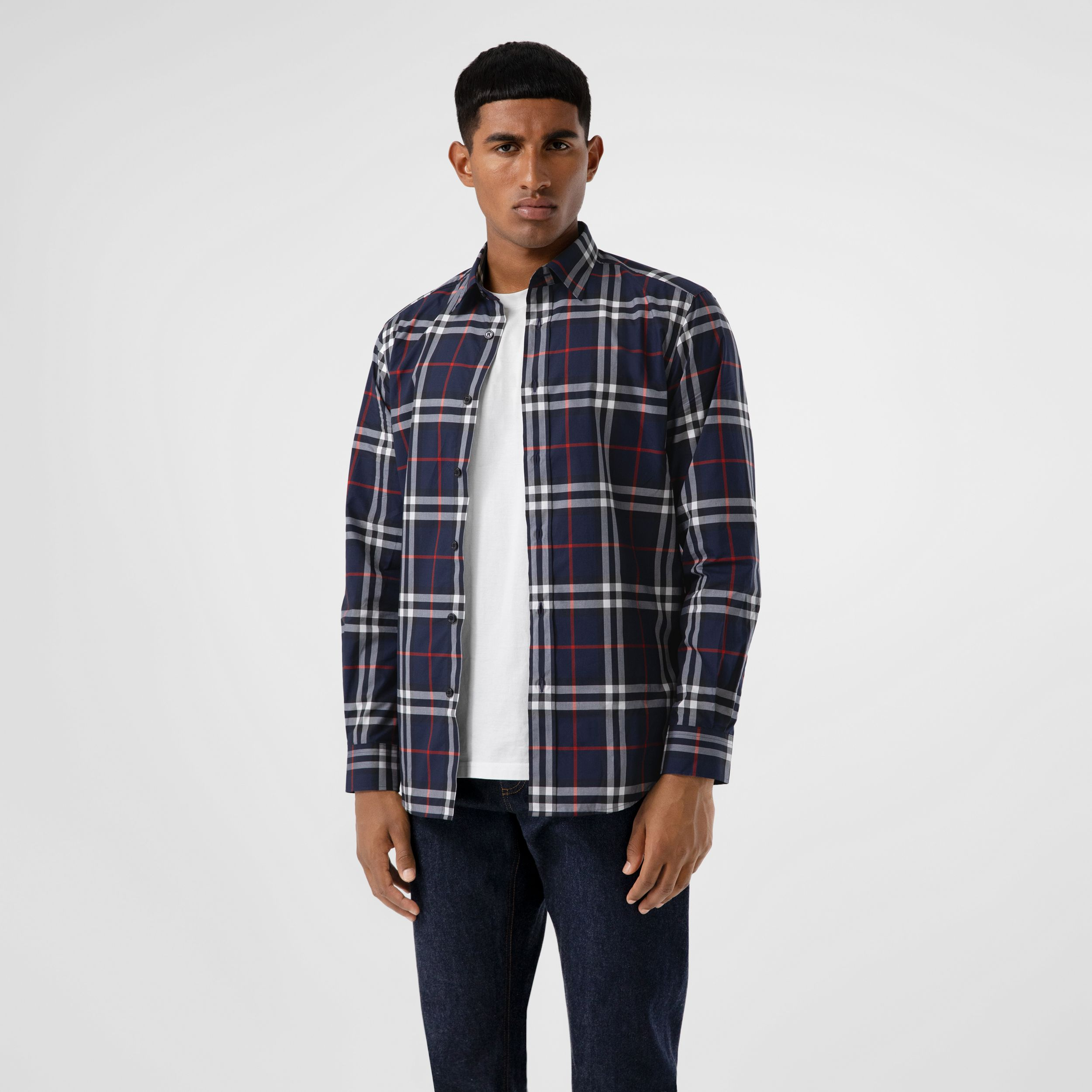 Check Cotton Poplin Shirt in Navy - Men | Burberry - 1