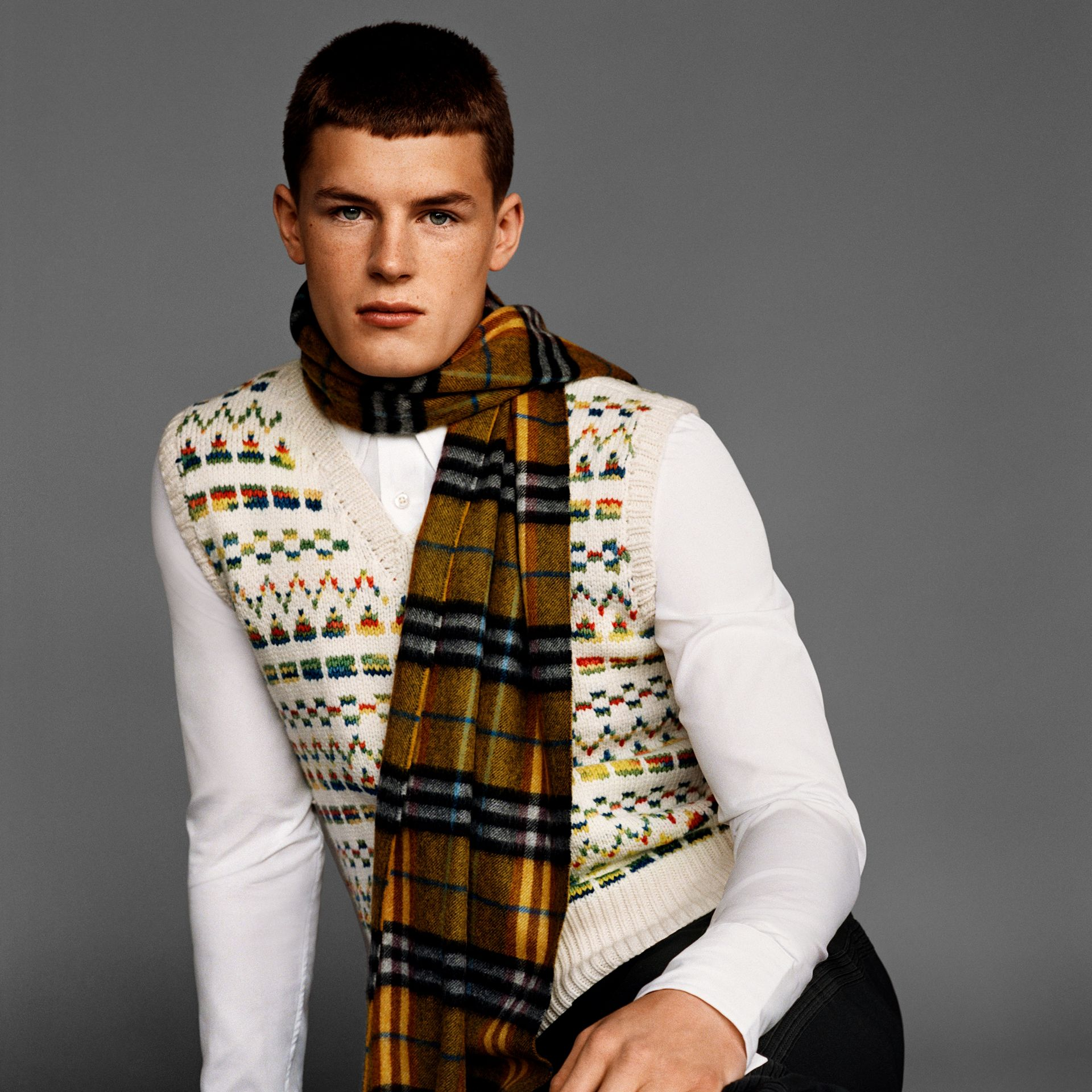 Geometric Fair Isle Wool Cropped Tank Top in Natural White - Men | Burberry - gallery image 7