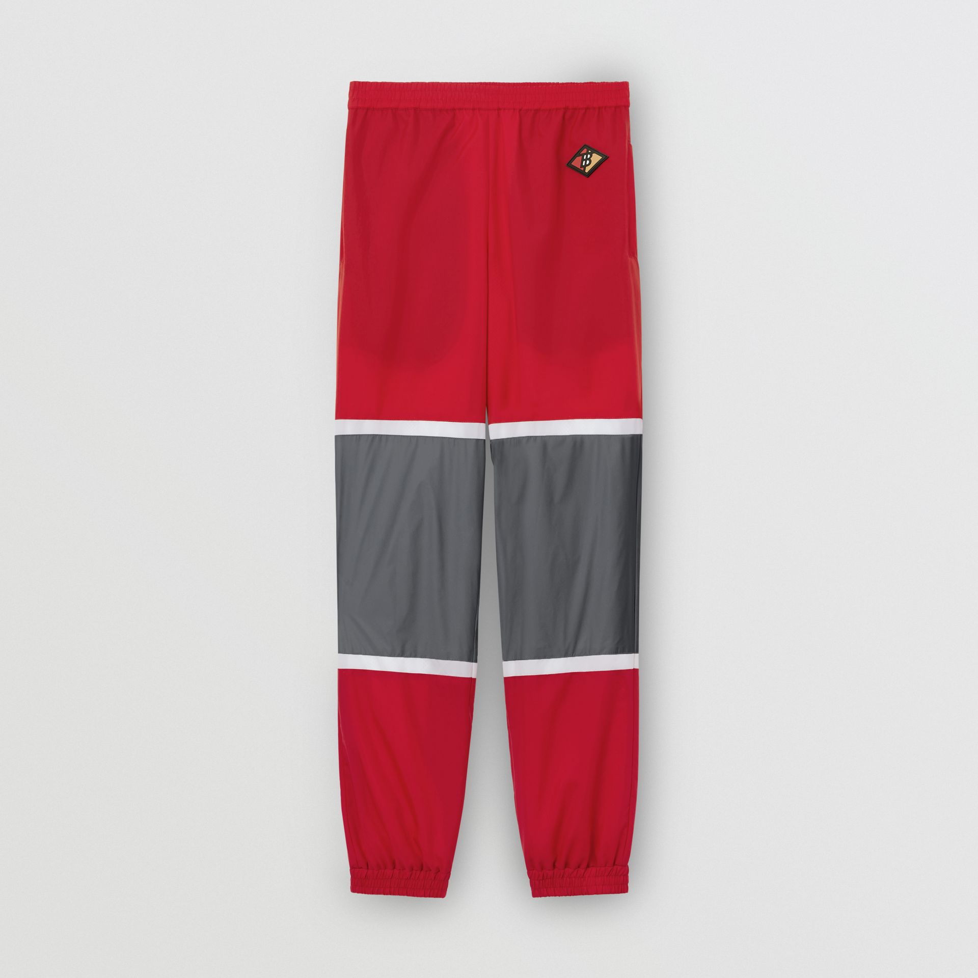 Logo Graphic Striped Nylon Trackpants in Bright Red - Men | Burberry - gallery image 3