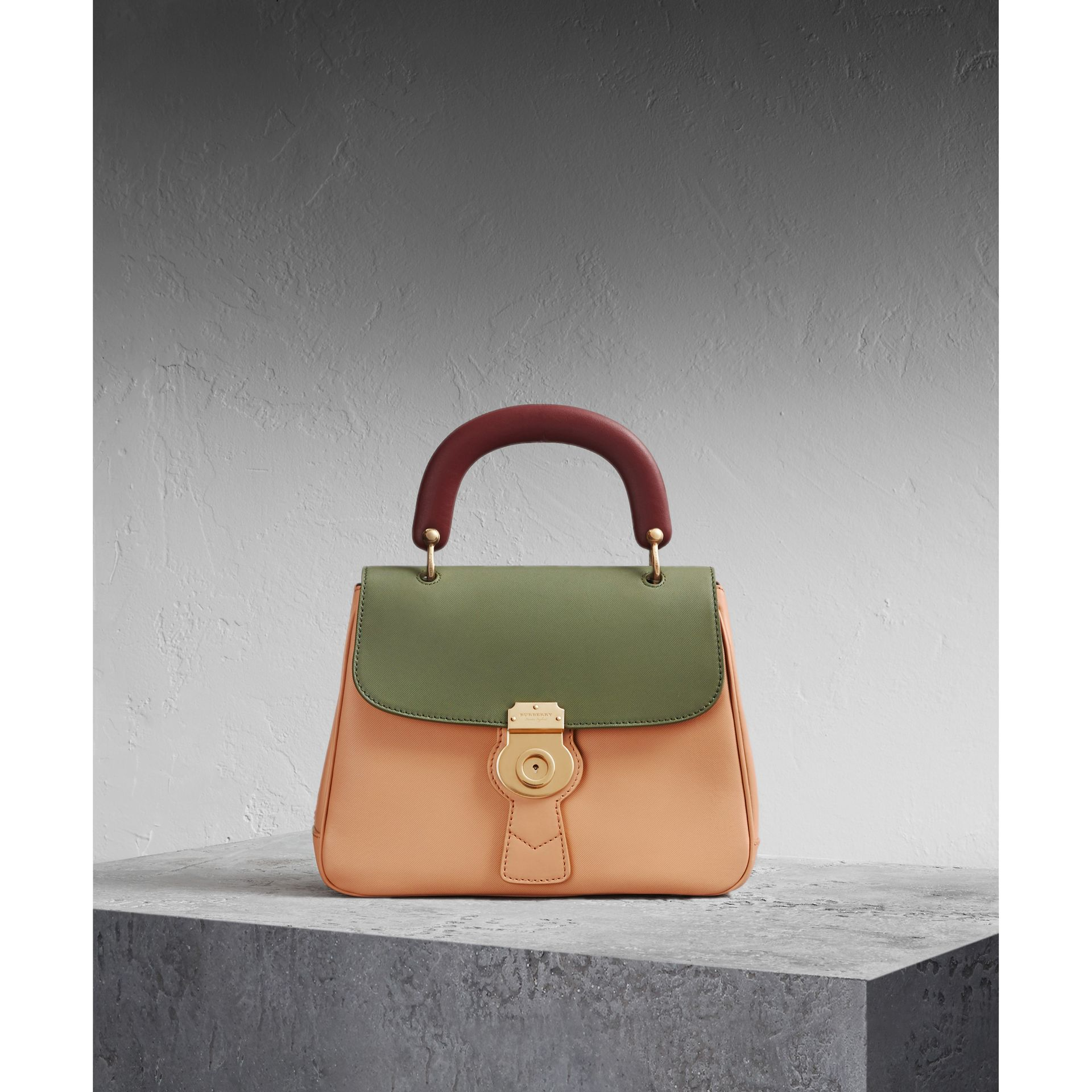 The Medium DK88 Top Handle Bag Pale Clementine/moss Green - gallery image 1