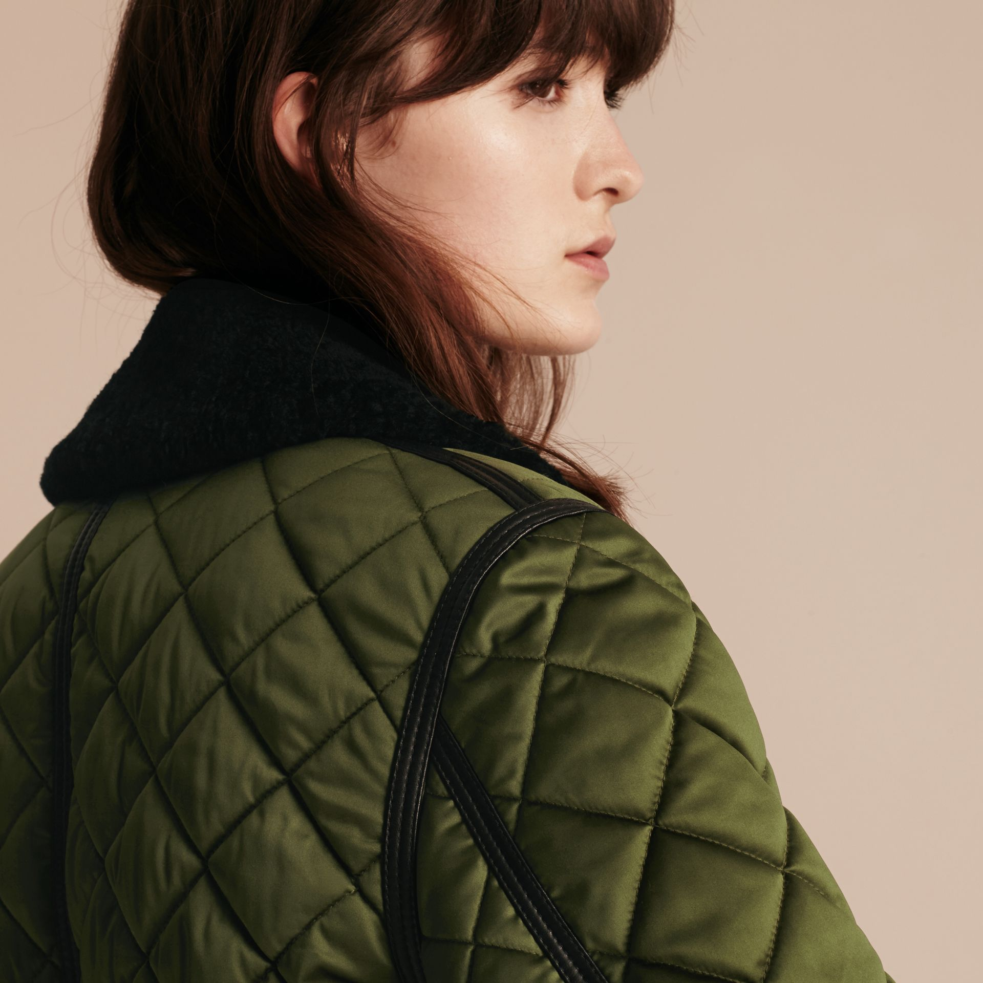 Bright moss green Long Quilted Bomber Jacket with Shearling Collar - gallery image 5