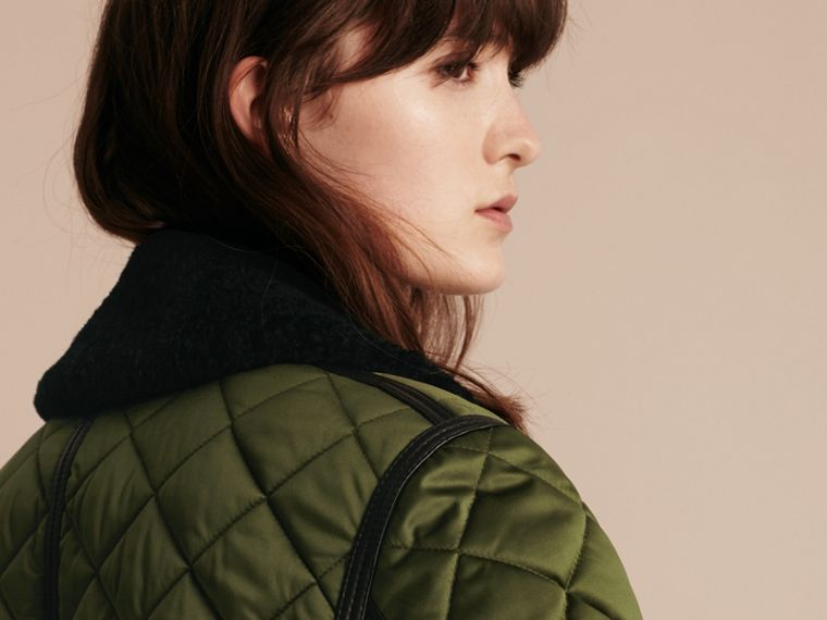 Bright moss green Long Quilted Bomber Jacket with Shearling Collar - cell image 4