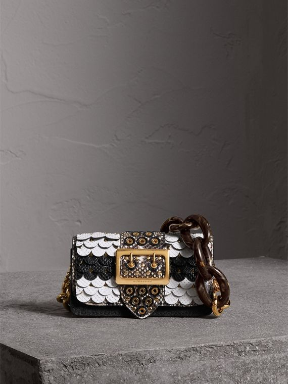 The Small Buckle Bag in Scalloped Snakeskin in Black/white