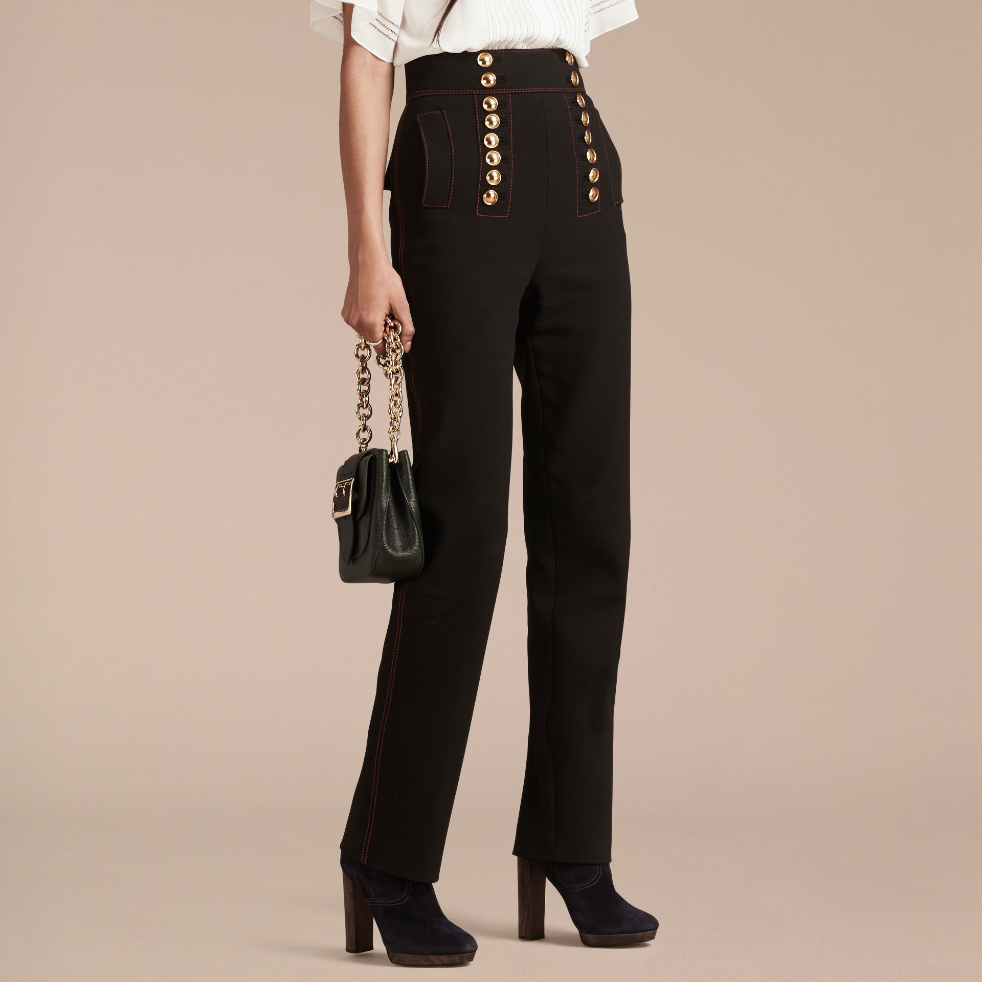 Black High-waist Stretch Military Trousers - gallery image 6