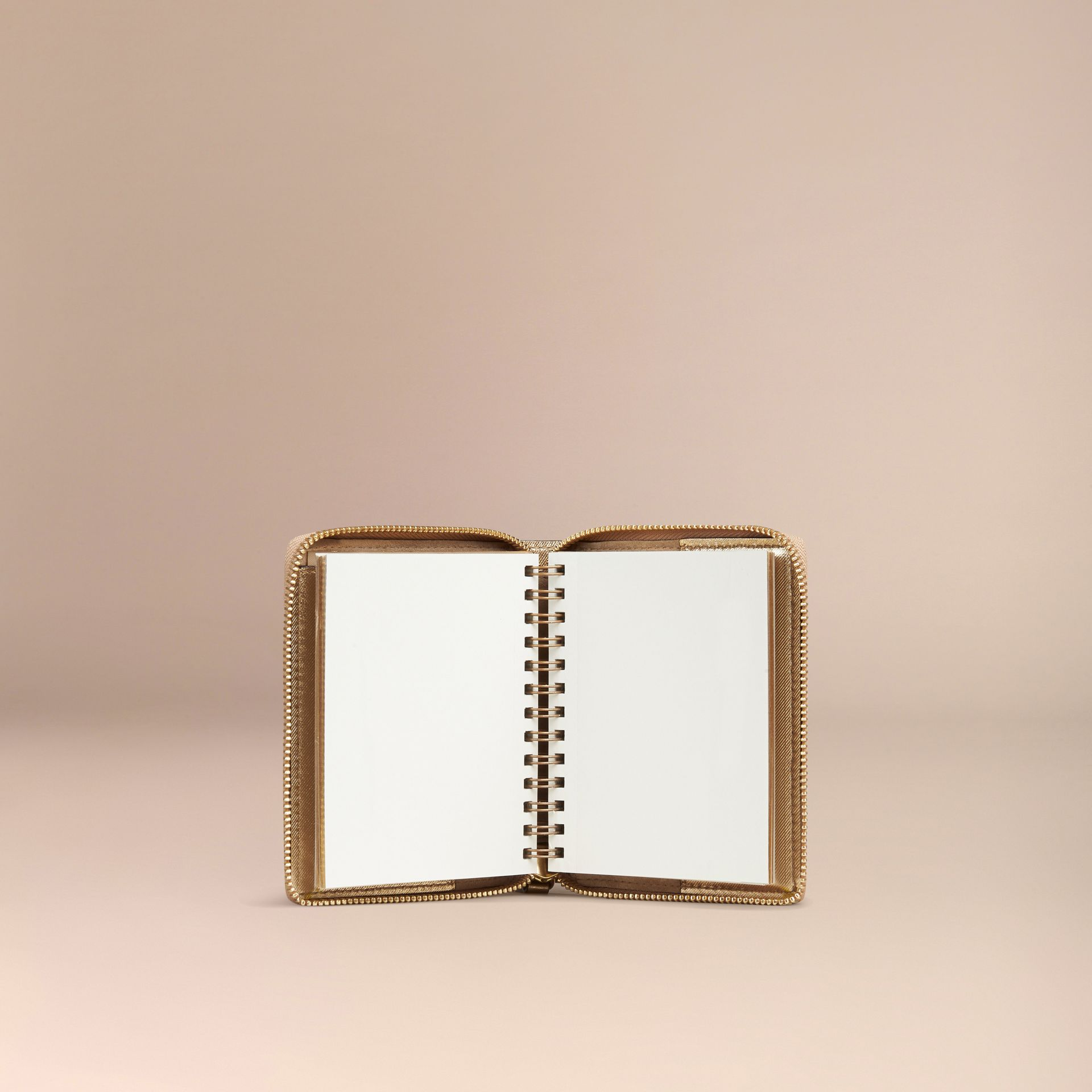 Gold Ziparound Check-embossed Metallic Leather Mini Notebook - gallery image 3