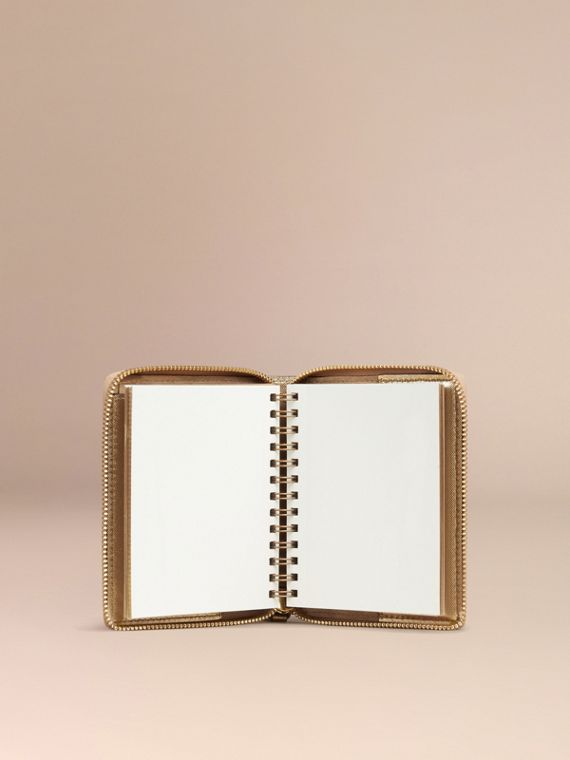 Gold Ziparound Check-embossed Metallic Leather Mini Notebook - cell image 2