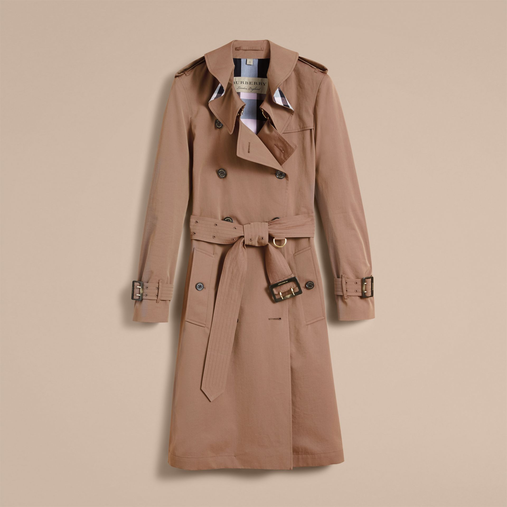 Tropical Gabardine Trench Coat with Ruffle Detail Taupe - gallery image 4
