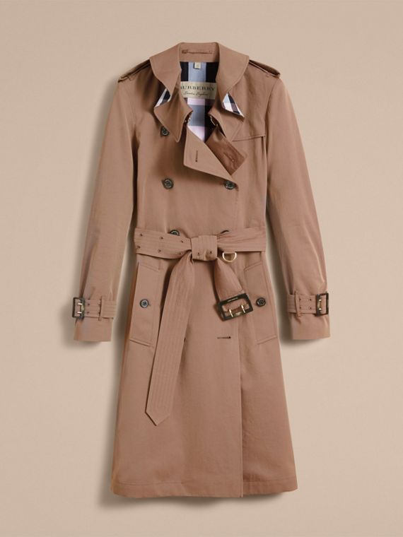Tropical Gabardine Trench Coat with Ruffle Detail in Taupe - Women | Burberry - cell image 3