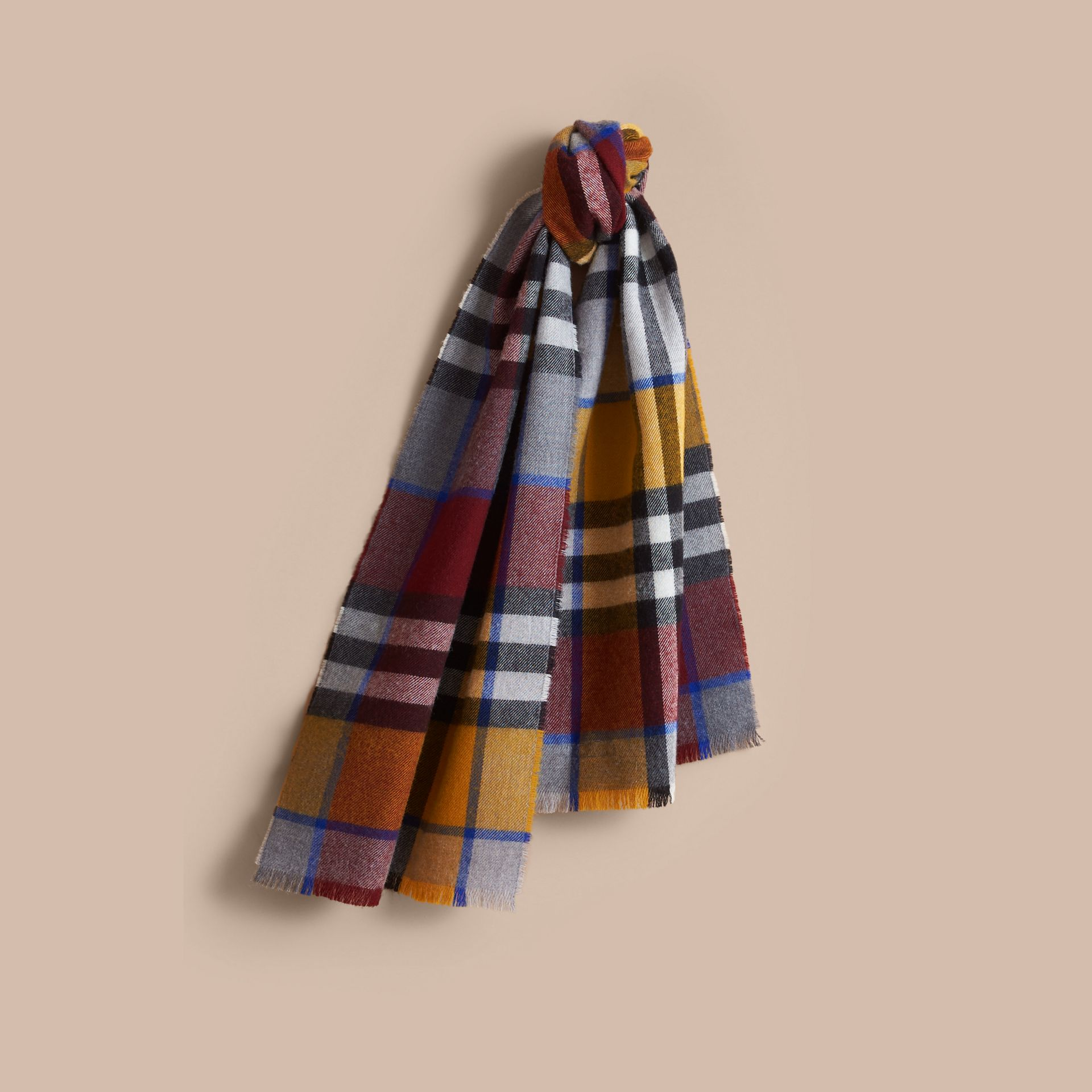Overdyed Exploded Check Merino Wool Scarf in Burgndy/ochre Yellow | Burberry United Kingdom - gallery image 1