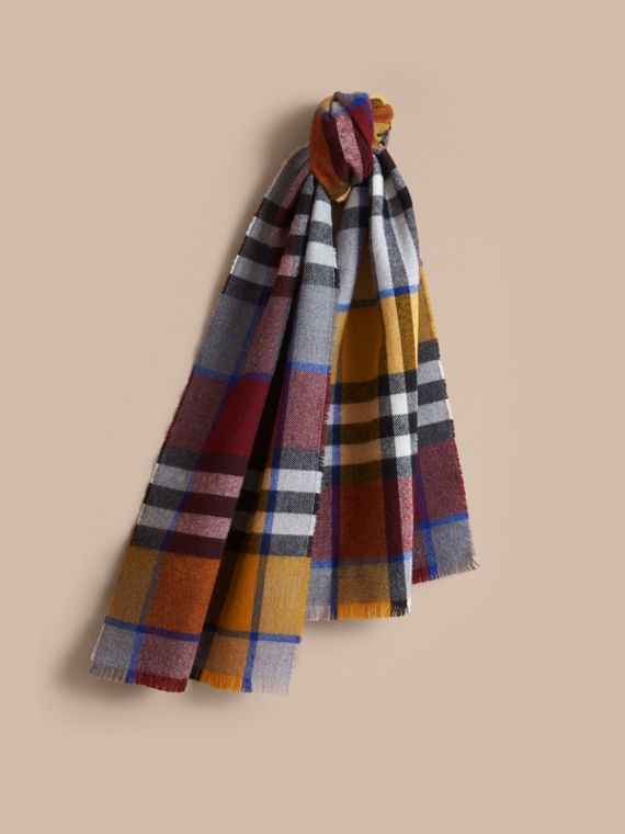Overdyed Exploded Check Merino Wool Scarf in Burgndy/ochre Yellow | Burberry