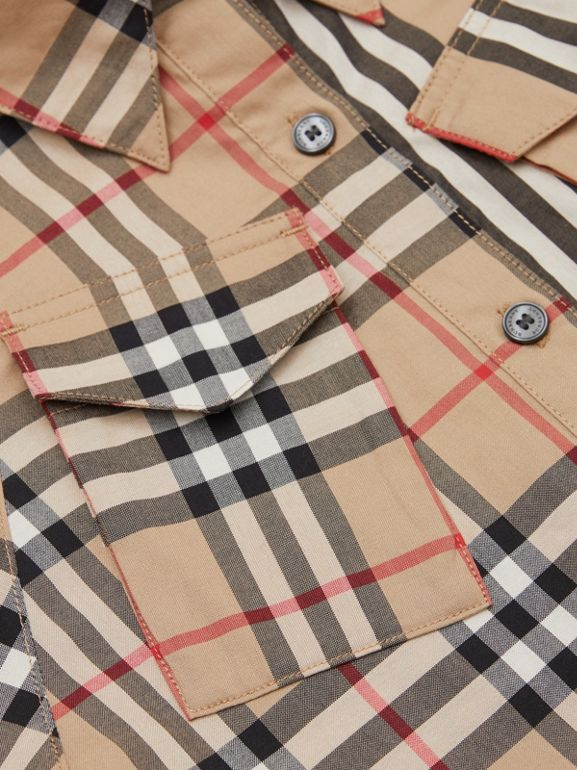 Vintage Check and Icon Stripe Cotton Shirt Dress in Archive Beige | Burberry United Kingdom - cell image 1