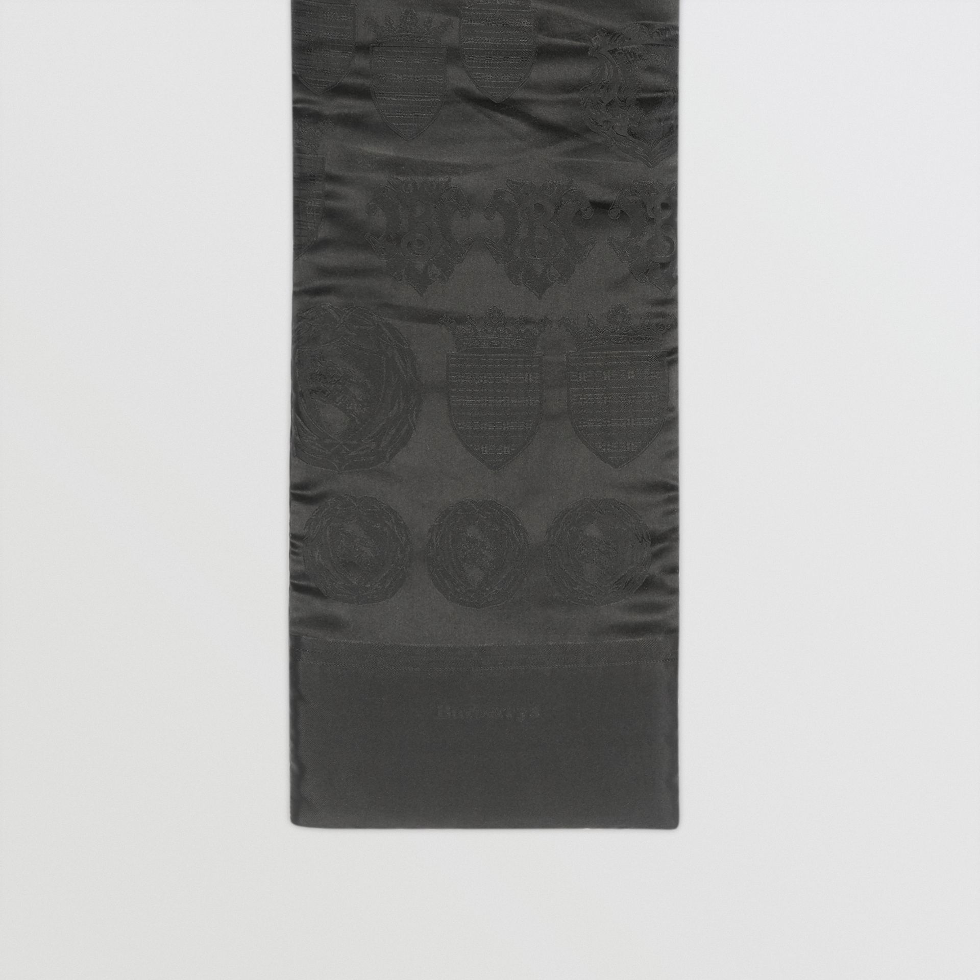 Archive Shield Silk Jacquard Puffer Scarf in Black | Burberry - gallery image 0