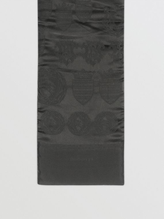 Archive Shield Silk Jacquard Puffer Scarf in Black
