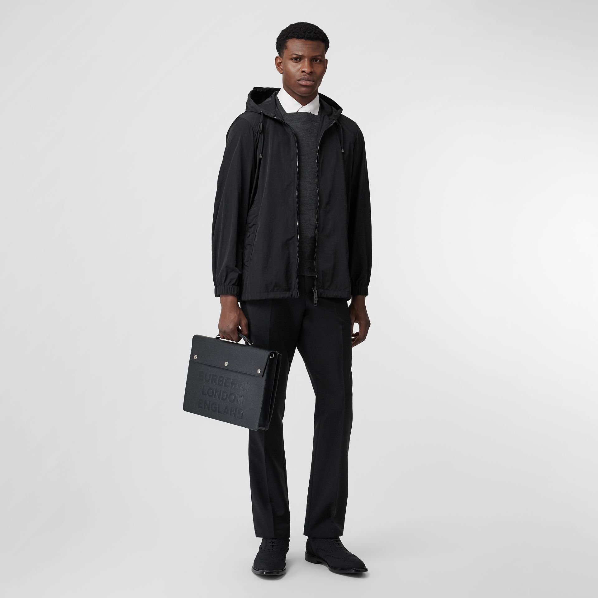 Packaway Lightweight Hooded Jacket in Black - Men | Burberry - gallery image 0