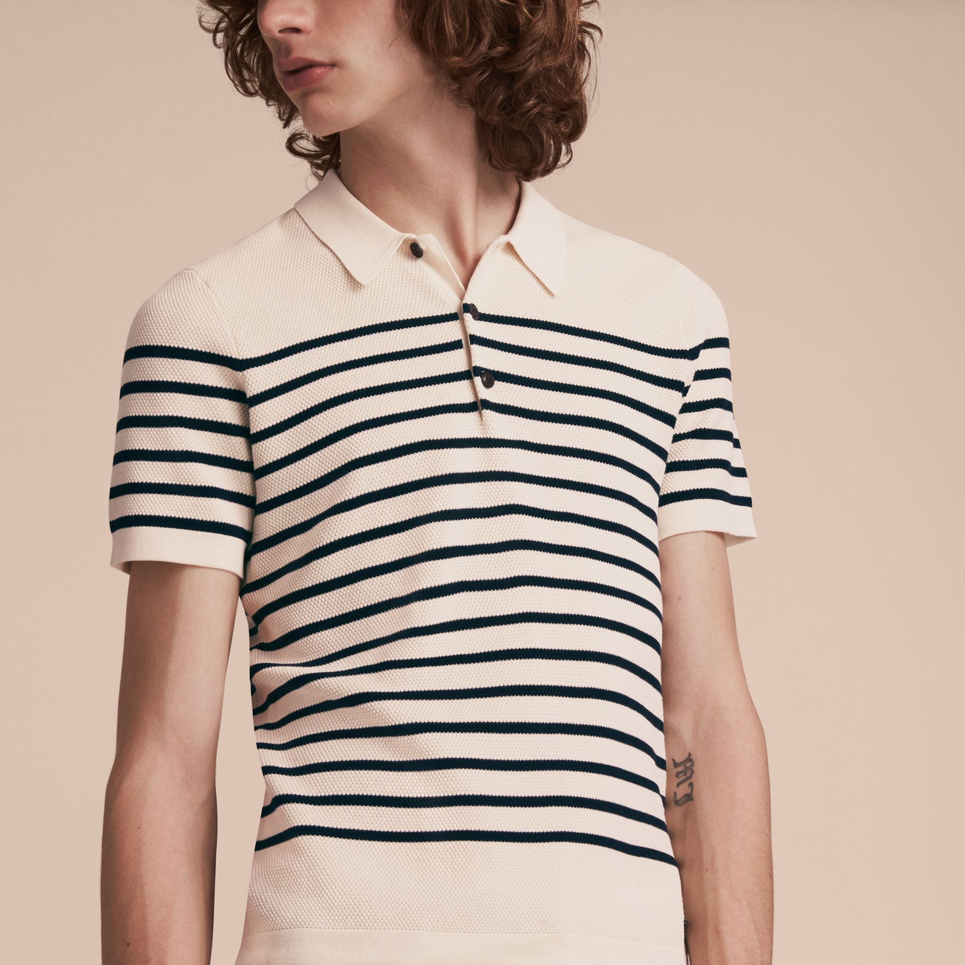 Striped Knitted Cotton Polo Shirt in White - Men | Burberry Canada - gallery image 5
