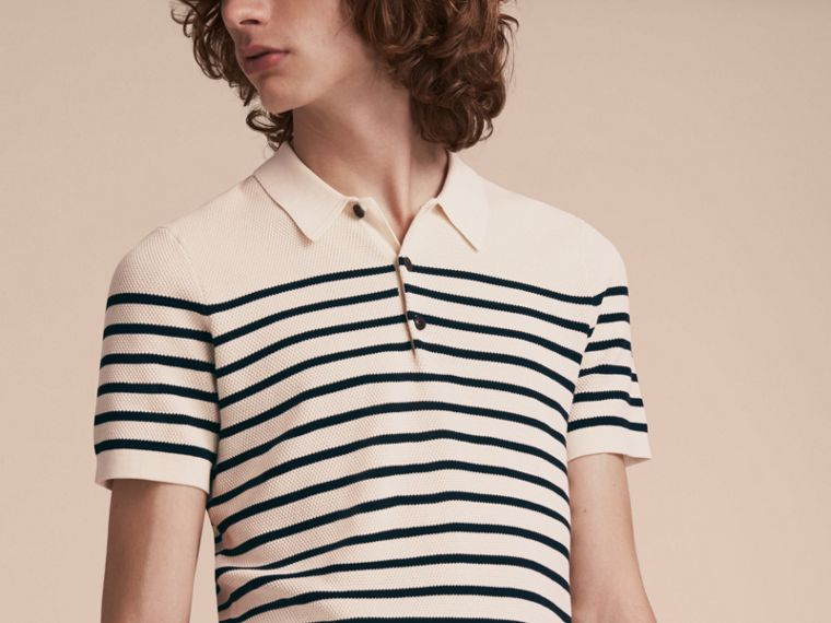 Striped Knitted Cotton Polo Shirt in White - Men | Burberry - cell image 4