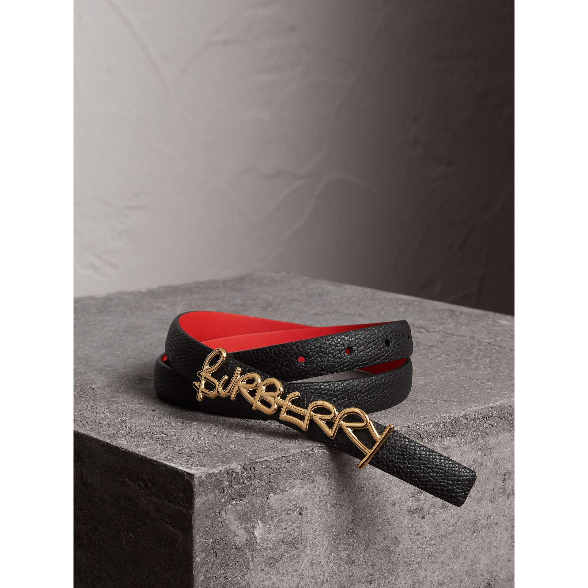 Doodle Detail Reversible Leather Belt in Black/red - Women | Burberry - gallery image 0