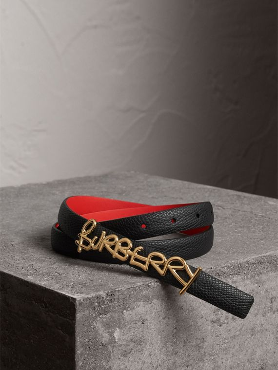 Doodle Detail Reversible Leather Belt in Black/red
