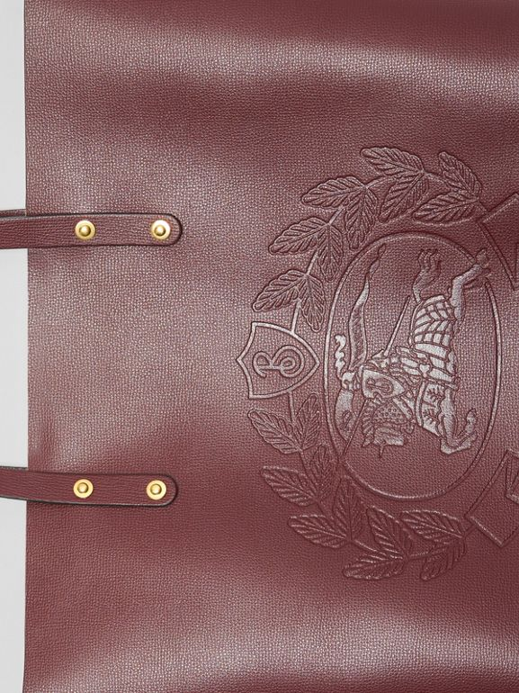 Embossed Crest Leather Tote in Burgundy | Burberry - cell image 1