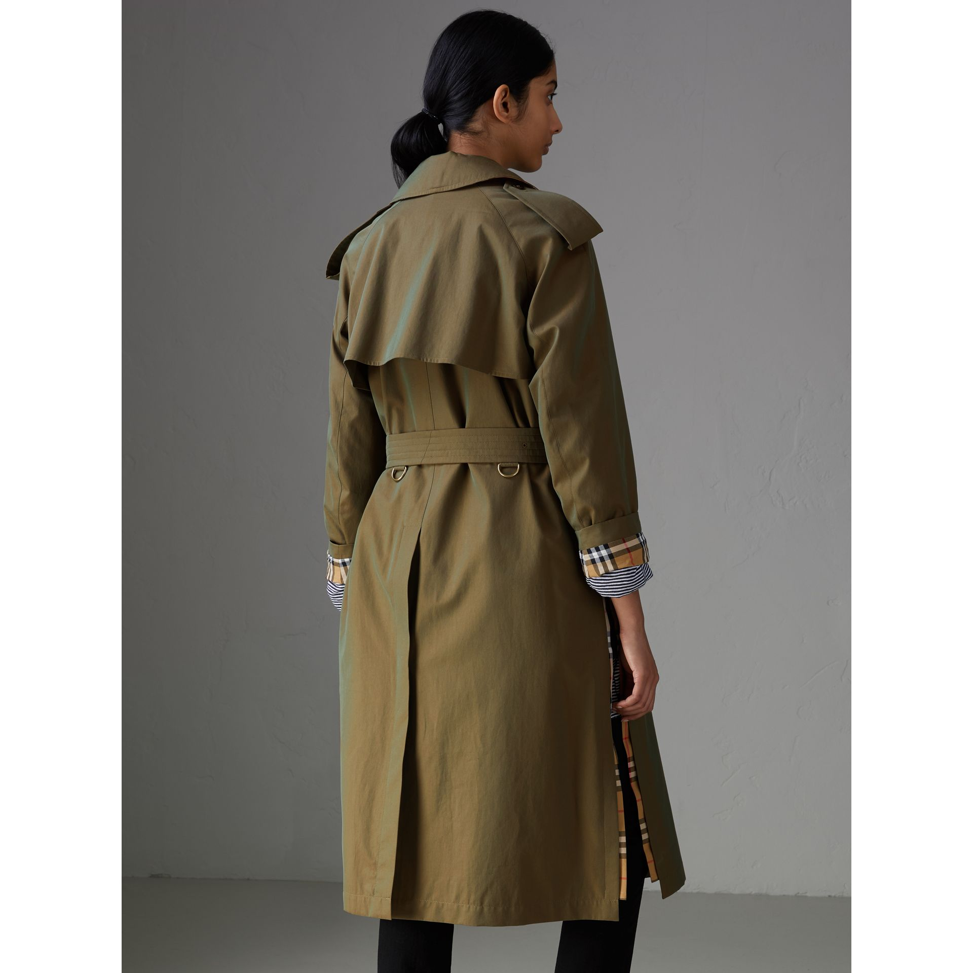 Side-slit Tropical Gabardine Trench Coat in Bright Olive - Women | Burberry Singapore - gallery image 2