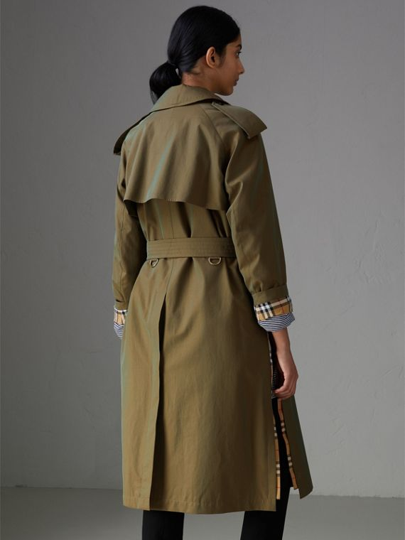 Side-slit Tropical Gabardine Trench Coat in Bright Olive - Women | Burberry - cell image 2