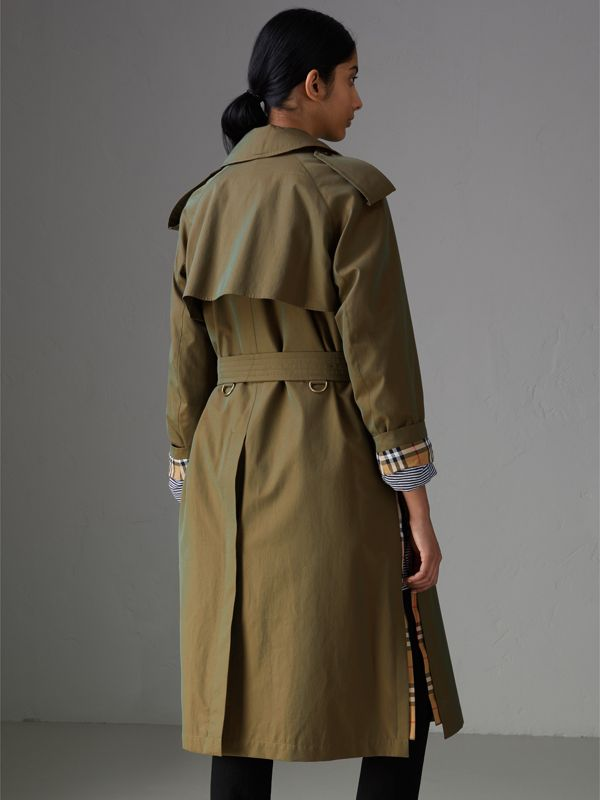 Side-slit Tropical Gabardine Trench Coat in Bright Olive - Women | Burberry Australia - cell image 2