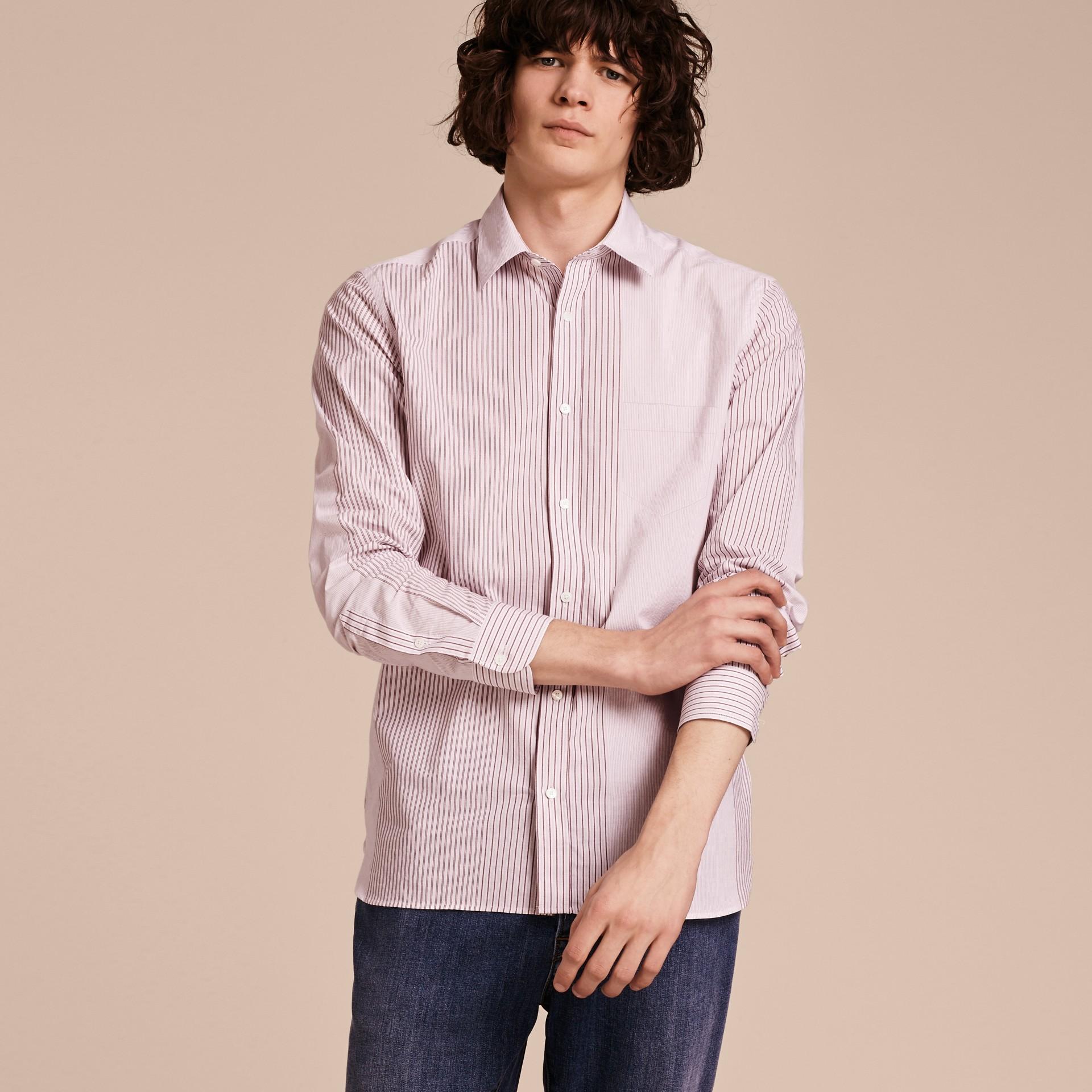 Panelled Stripe Cotton Shirt Rose Pink - gallery image 6