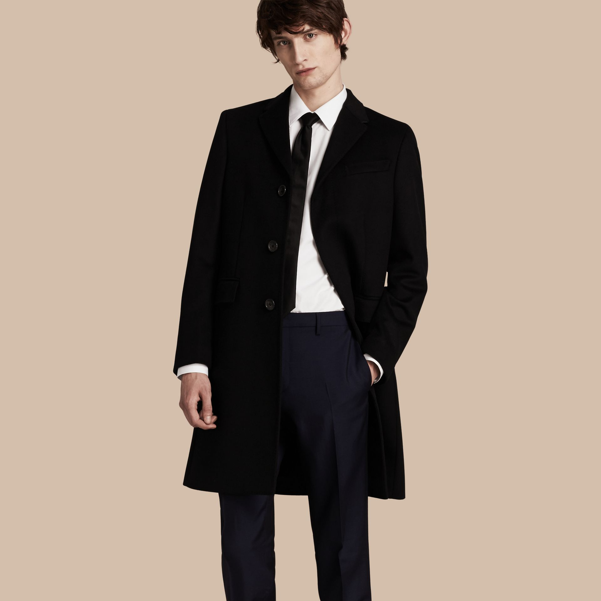 Black Wool Cashmere Tailored Coat Black - gallery image 1