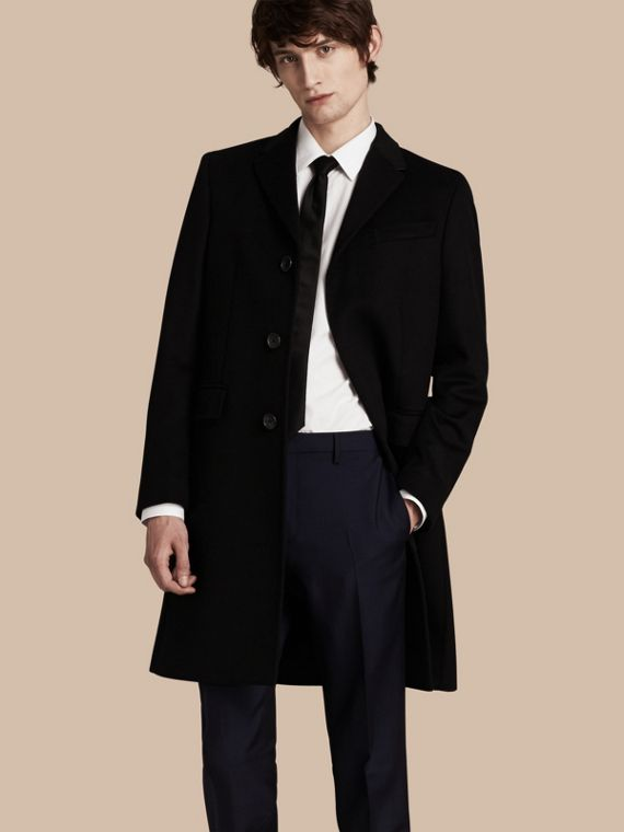 Wool Cashmere Tailored Coat in Black - Men | Burberry