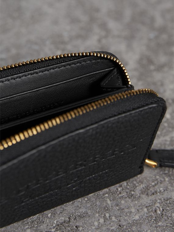 Textured Leather Ziparound Coin Case in Black - Men | Burberry Singapore - cell image 3