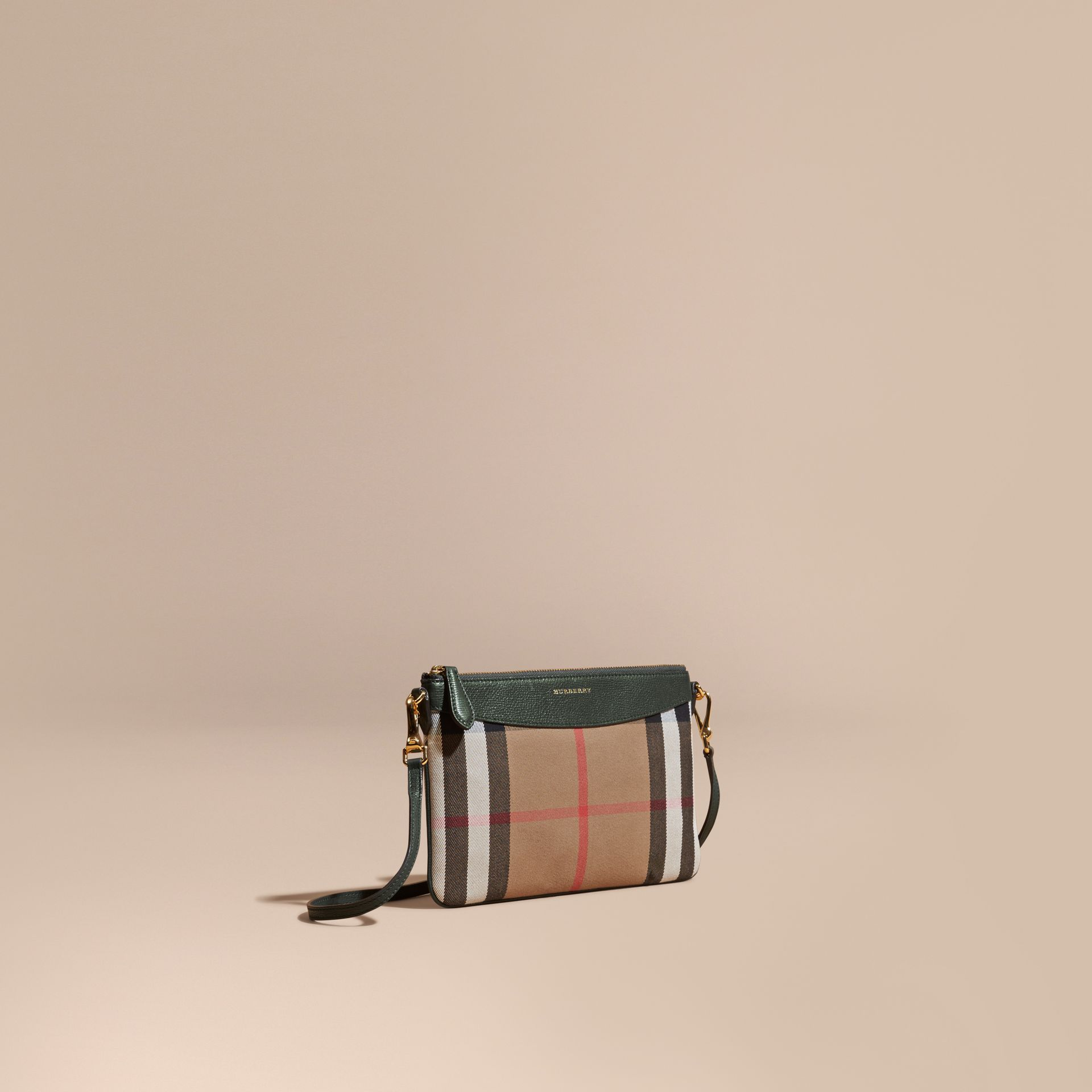 House Check and Leather Clutch Bag Dark Bottle Green - gallery image 1