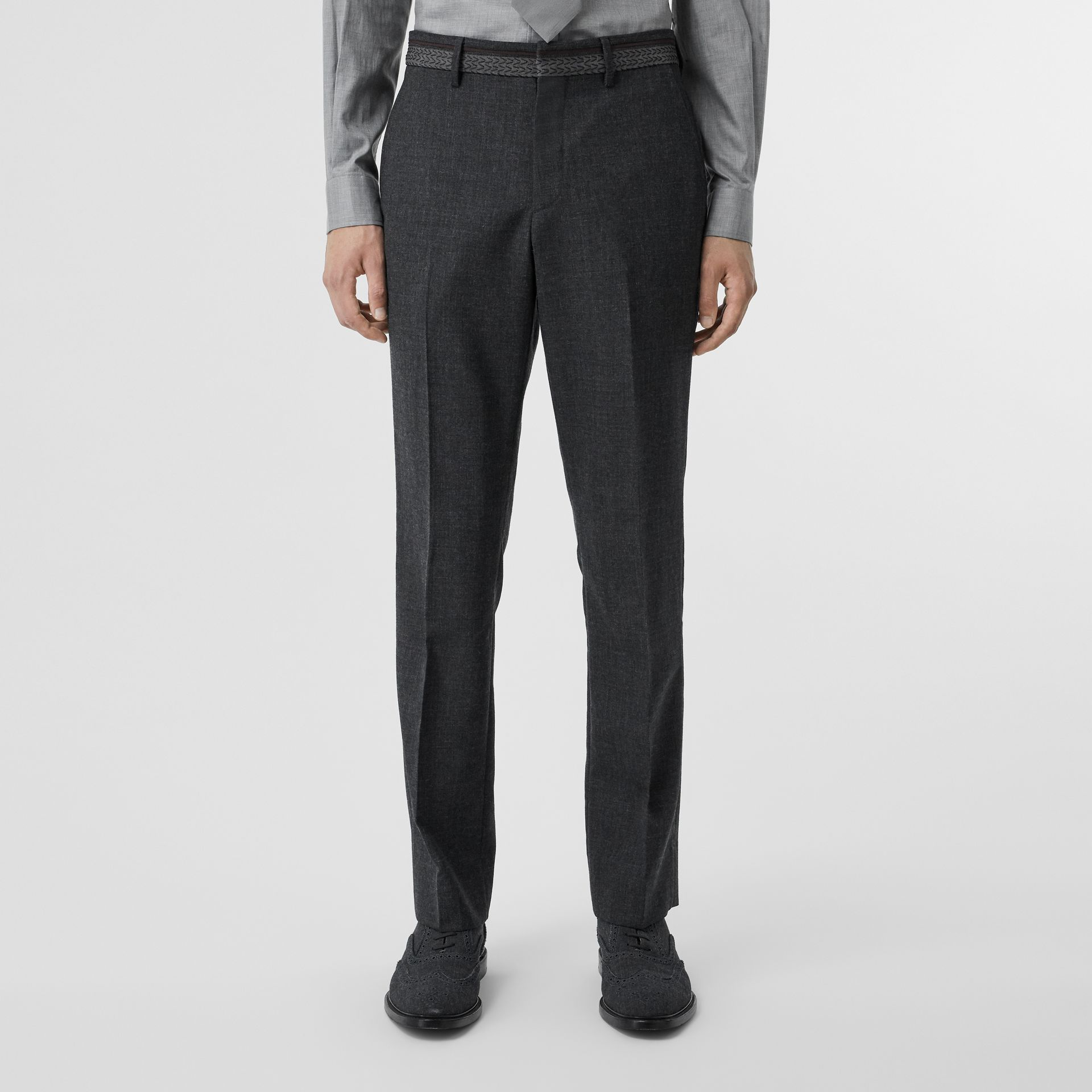 Classic Fit Wool Tailored Trousers in Dark Grey | Burberry Singapore - gallery image 5
