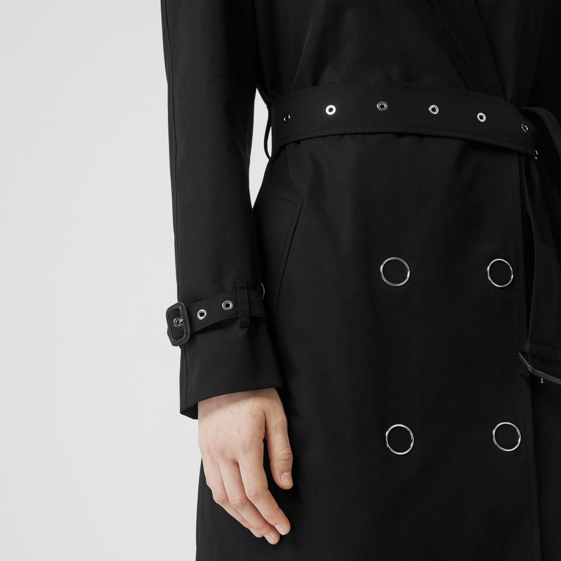 Press-stud Detail Cotton Gabardine Trench Coat in Black - Women | Burberry - gallery image 4