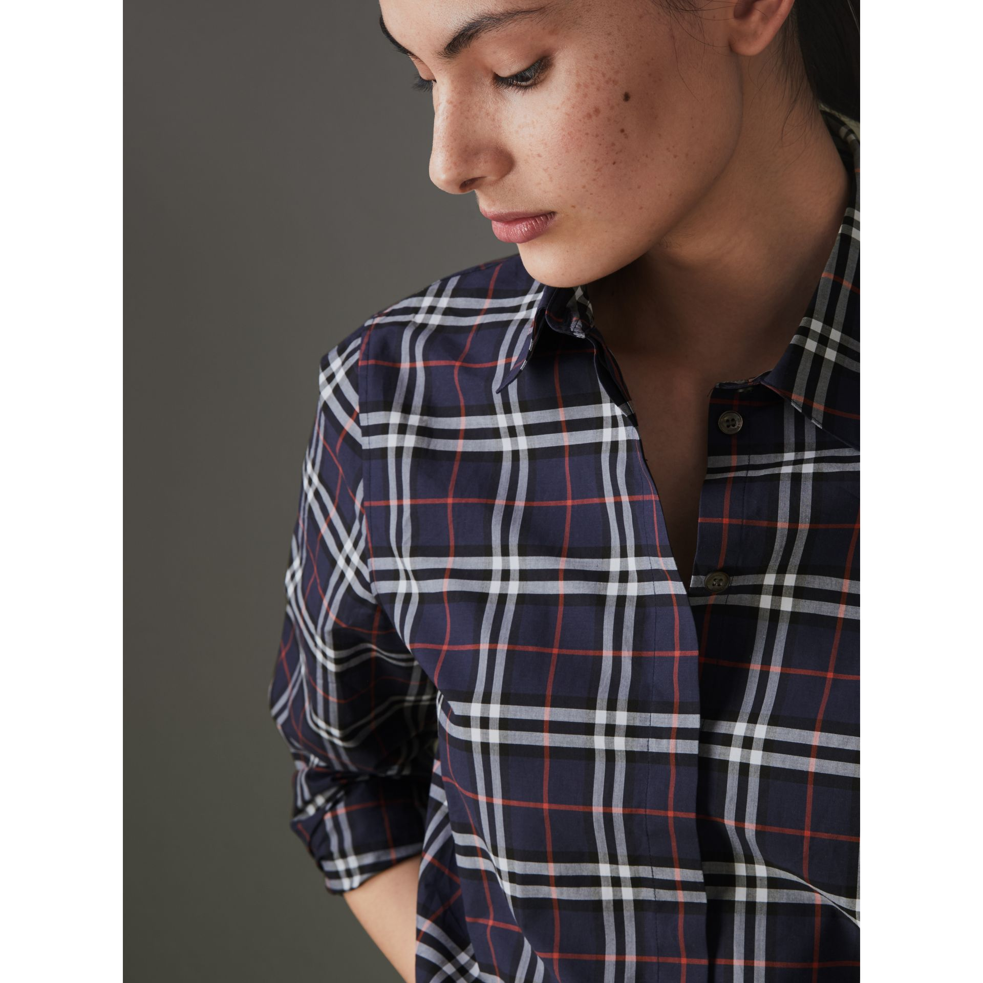 Check Cotton Shirt in Navy - Women | Burberry - gallery image 1