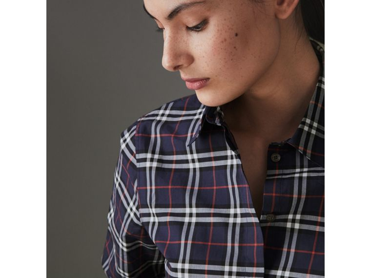 Check Cotton Shirt in Navy - Women | Burberry - cell image 1