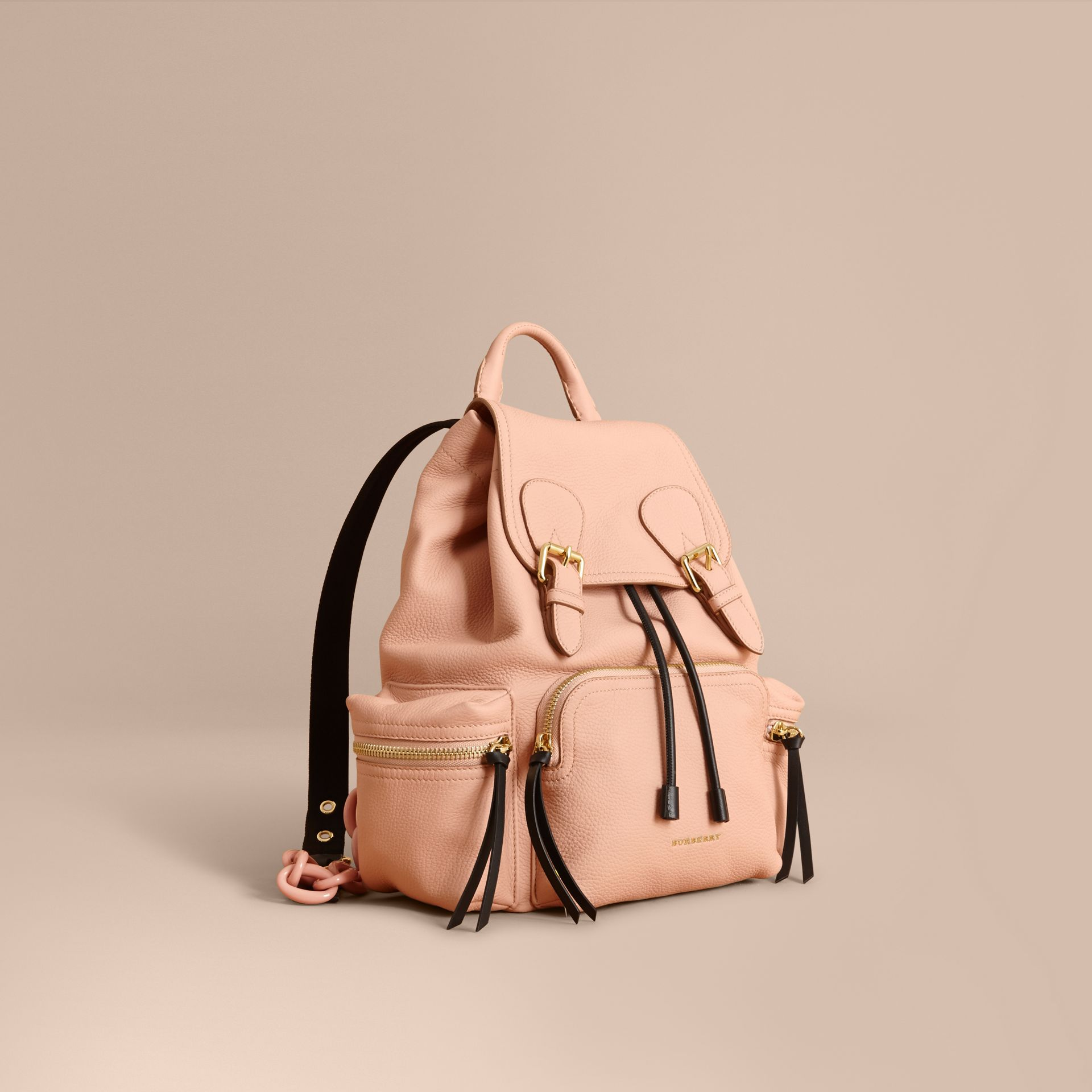 The Medium Rucksack in Deerskin with Resin Chain in Pale Apricot - gallery image 1