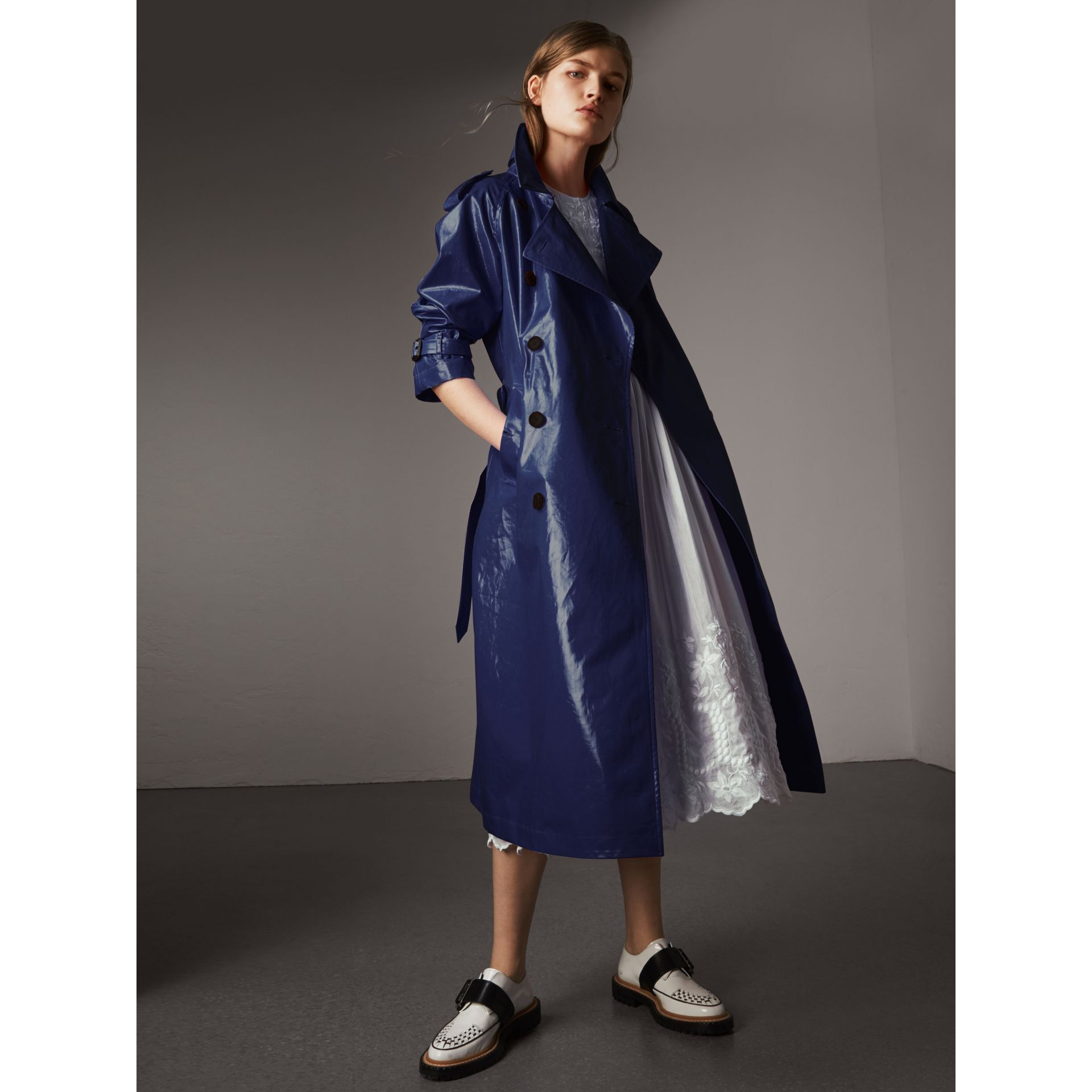 Laminated Cotton Trench Coat in Navy - Women   Burberry United States
