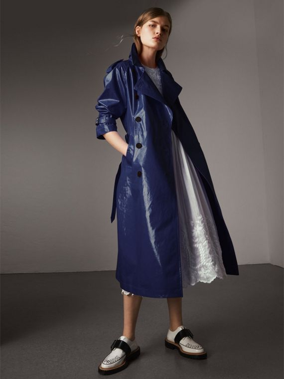 Laminated Cotton Trench Coat in Navy